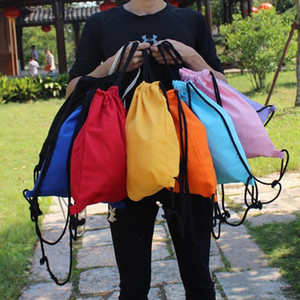 Candy blank Storage Bags DIY Women Backpack cotton Canvas Drawstring Bag storage bag shoe case Outdoor 34.5*41cm WY1096