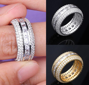 New Fashion 18K Gold & White Gold Blingbling Cz Cubic Zirconia Full Set Finger Band Ring Luxury Hip Hop Diamond Jewelry Ring For Men & Pgdh
