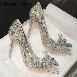 Clever Lady Fashion Luxery Shoes High Heel Women Red Bridal Wedding Shoes Female Rhinestone Crystal 9cm Stiletto