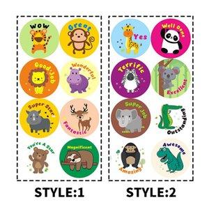 1-inch Self-adhesive Roll Sticker Label Teacher Inspired Children Cartoon Animation ARUU723