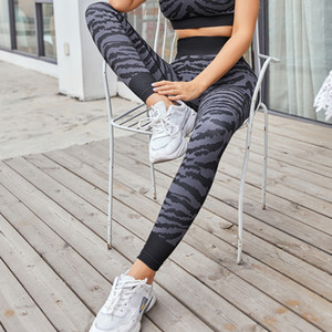 Women tight yoga pants printed sports wear high waist peach hip fitness pants women pants