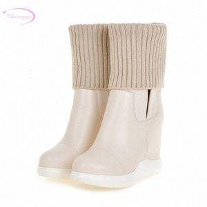 Chainingyee Elegant Style Round Head Mid Calf Boots Stretch Waterproof Platform High Heel Increasing Womens Riding Boots Rain Boots Me x3He#