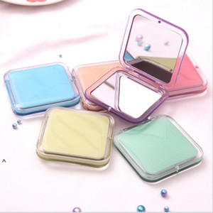 Makeup Mirrors Portable Mini Cosmetic Mirrors Tin Plate Compact Pocket Mirror Small Double-sided Mirror Sweet Simple Acrylic SEA FWC6057