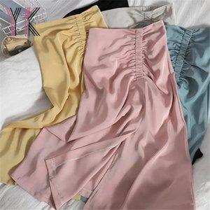 Skirts Slit Pink Elastic Pleated Midi Skirt Summer Elegant Korean Fashion Thin Solid Candy Color Long 2021 Clean Sweet Women Saia