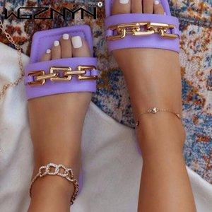 2021 летние новые женские сандалии для девочек плоские открытые пальцы носят тапочки женщин открытый мода пряжка пляжная обувь плюс размер 36-43