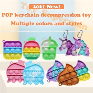 Fidget Pop Toy Sensory Jewelry key Chains Push Poo its Bubble Poppers Cartoon Simple Dimple toys Keychain Carabiner Stress Reliever