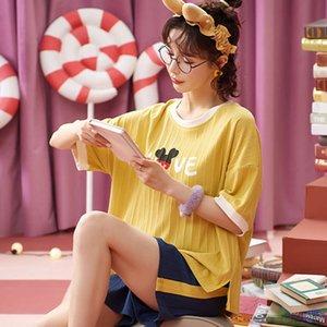 Pyjamas Femmes Spring et Summer Cotton Mince Student Sleeve Short Short Coréen Belle princesse Style Extérieur
