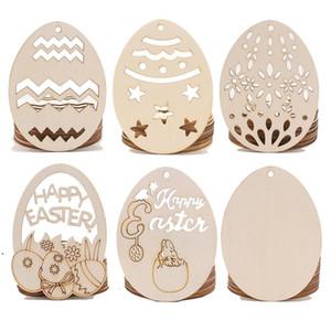 Hollow Easter Easter Decorações Decorações De Madeira Egg Ovo DIY DIY Pendurar Pingente Ornamento Feliz Páscoa Festa Decoração Fontes DHB4854