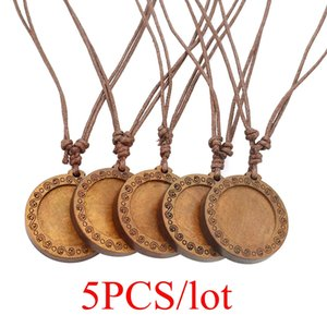 5PCS lot Diy Wood Pendant Trays Base Fit 25mm Glass Cabochon Setting Blank Necklace Handmade Jewelry Making Supplies