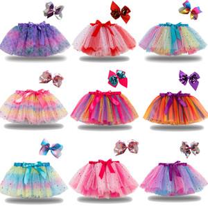 21 Farben Baby Mädchen Tutu Kleid Candy Rainbow Farbe Babys Röcke mit Stirnband Sets Kinder Urlaub Tanzkleider Tutus 2021