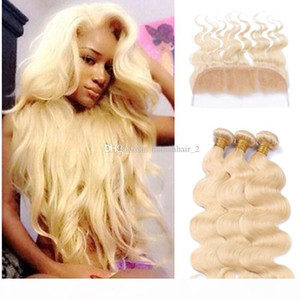 613 blonde human hair and lace frontal 13*4 cheap human hair body wave 3pcs bundles with 1pc ear to ear full lace frontals