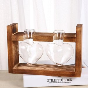 Vases 1Pc Heart Shape Glass Vase Hydroponics Planter Green Plant Container Flower Arrangement With Wooden Rack (Log Color)
