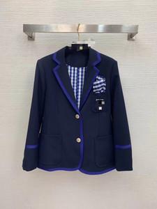 1020 2021 Бесплатная доставка пружинная пружина та же стиль пальто кнопка отворота шеи синий мода женская одежда плед полосатый S M l Changji