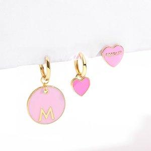 New Sweet Love Heart Drop Earrings for Women Girls Round Circle Enamel Letters Korean Fashion Statement Wedding Jewelry