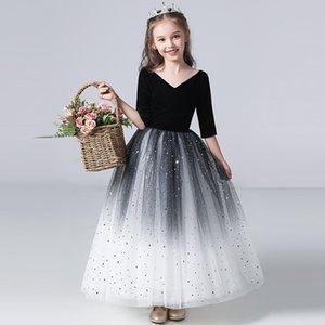 Niña Negro Gran cuello en V Cumpleaños Vestido de fiesta Vestido de comunión Falda de gradiente Pearl Temperamento Vestido