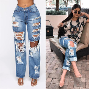 Women Jeans High Waist Split four-button Contrast color Straight leg Pants Printing Sexy High Waist Tassel Ripped Holes Denim