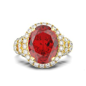 HBP fashion high end imitation diamond red super flash luxury 18 K gold pattern engagement ring