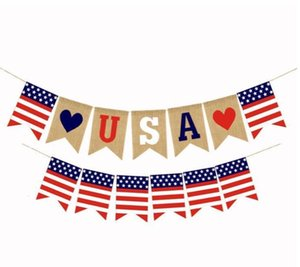 США Гирлянда Pull Flag Swallowtail Баннеры День независимости Струнные флаги США Письма Буговчики баннеры 4 июля Оформление вечеринки WMQ519