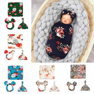 Newborn Baby Sleeping Bags Bow Headband Hat 3 pcs sets Swaddle Blanket Floral Flower Butterfly Print Wrap INS Toddler Cartoon Sleep Sacks Photography Prop