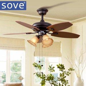 Sove 52 inch Modern Village Wood Ceiling fans With Lights Remote Control Restaurant, living room bedroom Home 220 Volt Fan Lamp