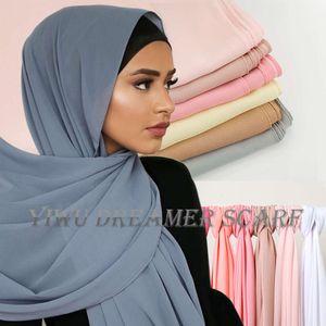 Women Plain Bubble Scarf Hijab Printing Solid Color Shawl Headband Muslim Hijabs Turban Chiffon Scarves Bandana 83colors