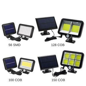 COB LED luces solares Sensor de movimiento PIR Lámpara solar impermeable Lámpara de camino de la calle para la iluminación del jardín al aire libre