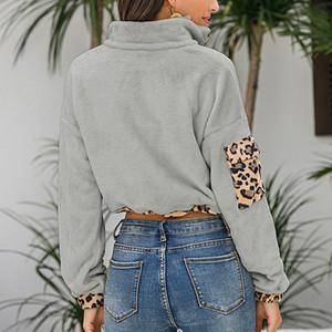 New Autumn Long Leopard Patchwork Hoodies Elegant Turtleneck Flannel Sweatshirt Plush Drawstring Tops RN11