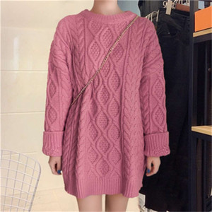 2020 new autumn and winter large twist Pullover women's loose Korean thickened lazy wind woolen sweater