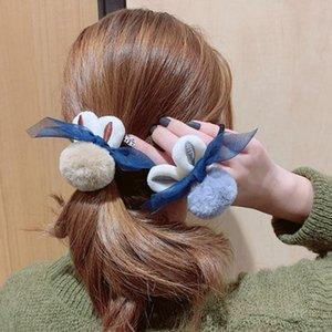 [XWEN] 3/4 adet / takım Kürklü Yumuşak Kız Peluş Saç Bandı kadın Hairwear Set Saç Kravat Band Sevimli Halat Deri Kapak Headdress TX2011