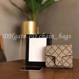 Luxury Designer 2021 Double G Leather Fold Wallet Handbag Plain High Quality Hardware Dot Letter Card Holders Women Fashion Clutch Bags Coin Purse