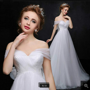 2021 Stylish white tulle a line wedding dresses sweetheart neckline pleated with bow open back sexy wedding gowns court train bride dresses
