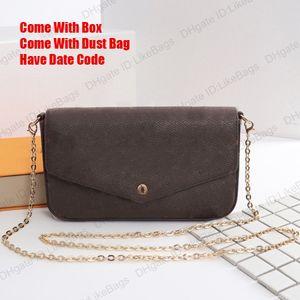 Сумка Pochette Felicie Женщины Vintage Bag Bag M61276 с коробкой Box Hobo 3 Piece / набор сцепления кошелек роскошный дизайнер Crossbody сумки съемные цепные монеты кошелек