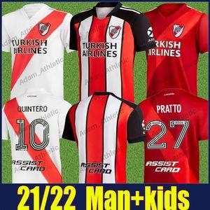 2021 2022 Placa de río Jersey Man Kids de la Cruz Quintero Jersey Borre Fernández Pratto Soccer Jersey Camiseta de River Plate 21/22