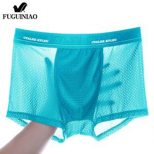 Panties Mens Ice Silk Boxer Underwear Men Mesh Boxers Breathable Sexy Boxershorts Man Solid Comfortable Underpants 4XL 210310