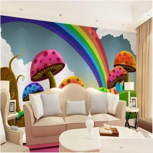 Wholesale- Wallpaper The Living Room Sofa Tv Background Wallpaper Cute Rainbow Mushroom Cartoon Children's 3d Wall jllQDo outbag2007