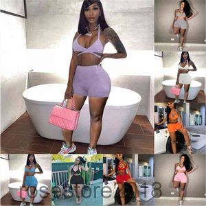 Women tracksuit Outfits summer new Designer Fashion women's V neck pure color sexy suspender Leisure Sports Shorts Two-piece sets