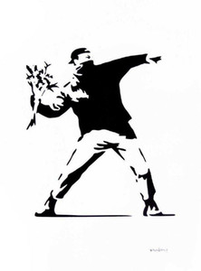BANKSY Flower Thrower Home Decor Handpainted &HD Print Oil Painting On Canvas Wall Art Canvas Pictures 210217