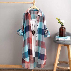 2021 spring and summer Korean sunscreen shirt women's medium length large size women's loose and thin fashion Plaid Shirt women