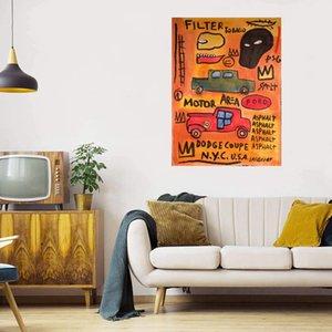 Jean-Michel Basquiat Area Motor Area NYC Decorazione della casa Artigianato / HD Stampa Pittura ad olio su tela Grande parete Art Immagine su tela 210220