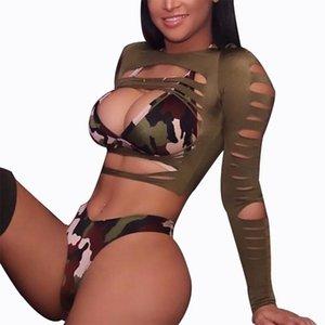 3 piezas rasgadas de manga larga camuflaje bikini de la pierna alta corte trajes de baño para mujer 2021 verano alta cintura traje de baño femenino traje de baño