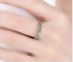 Silver Sparkling Bow Knot Stackable Ring Pandora Style Sterling Sliver Wedding Rings With Box Women Birthday ps2830