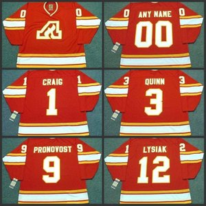 1 Jim Craig 12 Tom Lisiak 9 Jean PronoVost 3 Pat Quinn Atlanta Chamas 1980 Vintage Away Hockey Jersey S-3XL