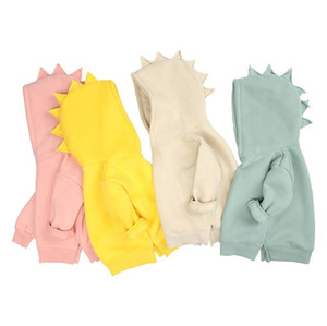 Kids Dinosaur Hooded Sweater Candy Color Clothes Spring 2021 Children's Fearless Top Korean Edition Children Wear YL373