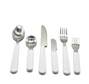 Kids Sublimation White Tableware Set Stainless Steel Cutlery Dinnerware Western Silverware Kitchen Knife Spoon Fork Dinner Set GWC6280