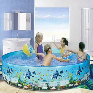 Kids Swimming Pool Ocean Ball Pool Cartoon Pattern PVC Household Bathing Basin Foldable Children's Bathtub Fish Pond