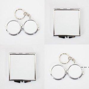 newWhite Sublimation Blank Cosmetic Portable Mirror Women Mini Stainless Steel Fashion Thermal Transfer Printing Metal Make Up tools EWB5692