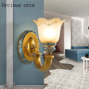 Mediterrâneo Simples Azul Lâmpada de Parede Quarto Lâmpada de cabeceira Aisle Americano Pastoral Resina Criativa Pintada Frete Grátis