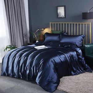 Bedding Sets 100% Silk Duvet Cover Set Satin Luxury Bed Linen Euro Queen King Size Quilt Pillowcases No Sheet