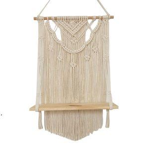 Bathroom Shelves Macrame Wall Hanging Shelf, Single Tier Wood Floating Shelf Organizer Hanger, Handmade Boho Home Decor Promotion DWF9088