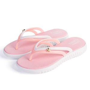 SXQYFW Womens Summer Slip-on Shoes Anti-slip Hard-wearing Fashion Leisure Slippers Beach Swimming Walk Indoor T-tied Flip Flops 210225